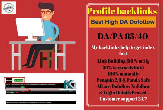 I will do verified live google index social media profile backlinks
