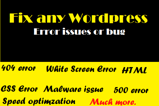 I will fix any wordpress error issues or bug