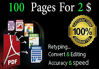 i will convert -edit- retype PDF 100 pages to word.50 images to text.