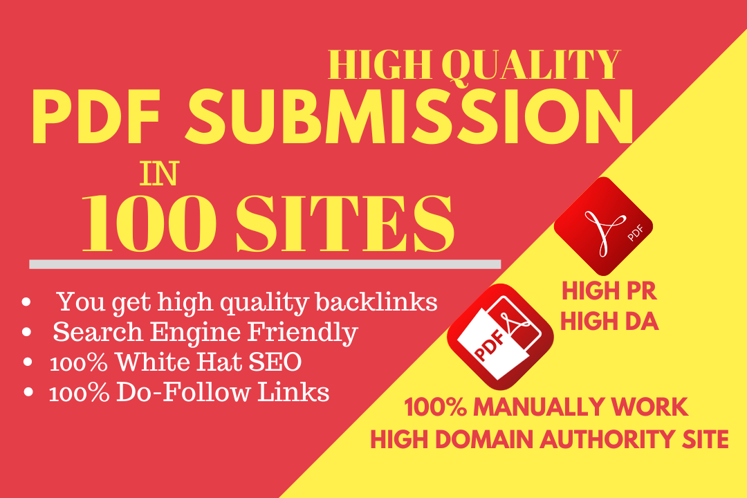 I will do pdf submission SEO backlinks with best 100 doc sites