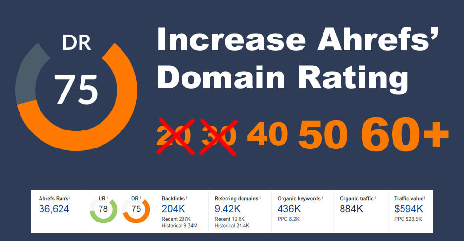 I will increase domain rating DR by ahrefs 50 plus within 1 month