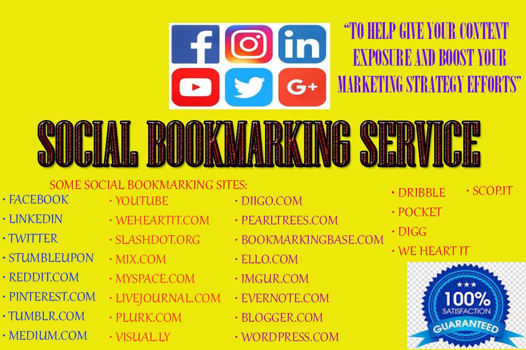 Add HQ 200 Social Bookmarking Backlinks on high PR sites manually