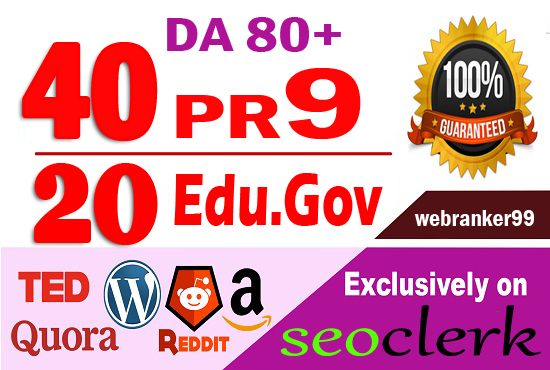 Provide 60 white hat Pr9 & Edu. Gov SEO dofollow backlinks,  link building
