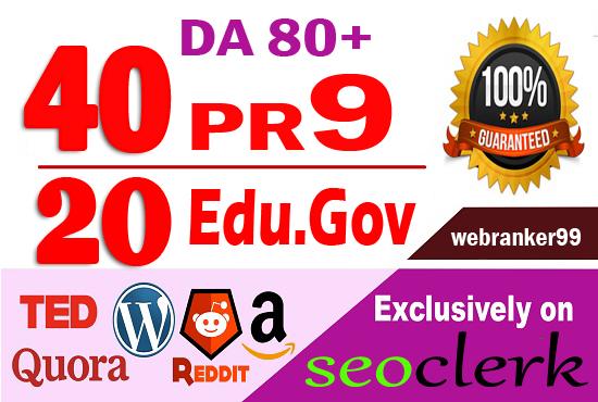 Provide 60 white hat Pr9 & Edu.Gov SEO dofollow backlinks, link building