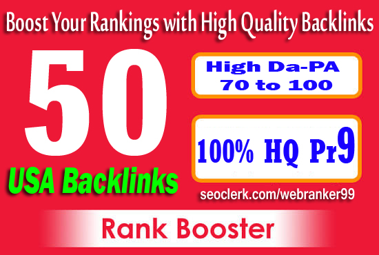 I will boost web ranking 50 USA pr9 seo safe manually link building backlinks