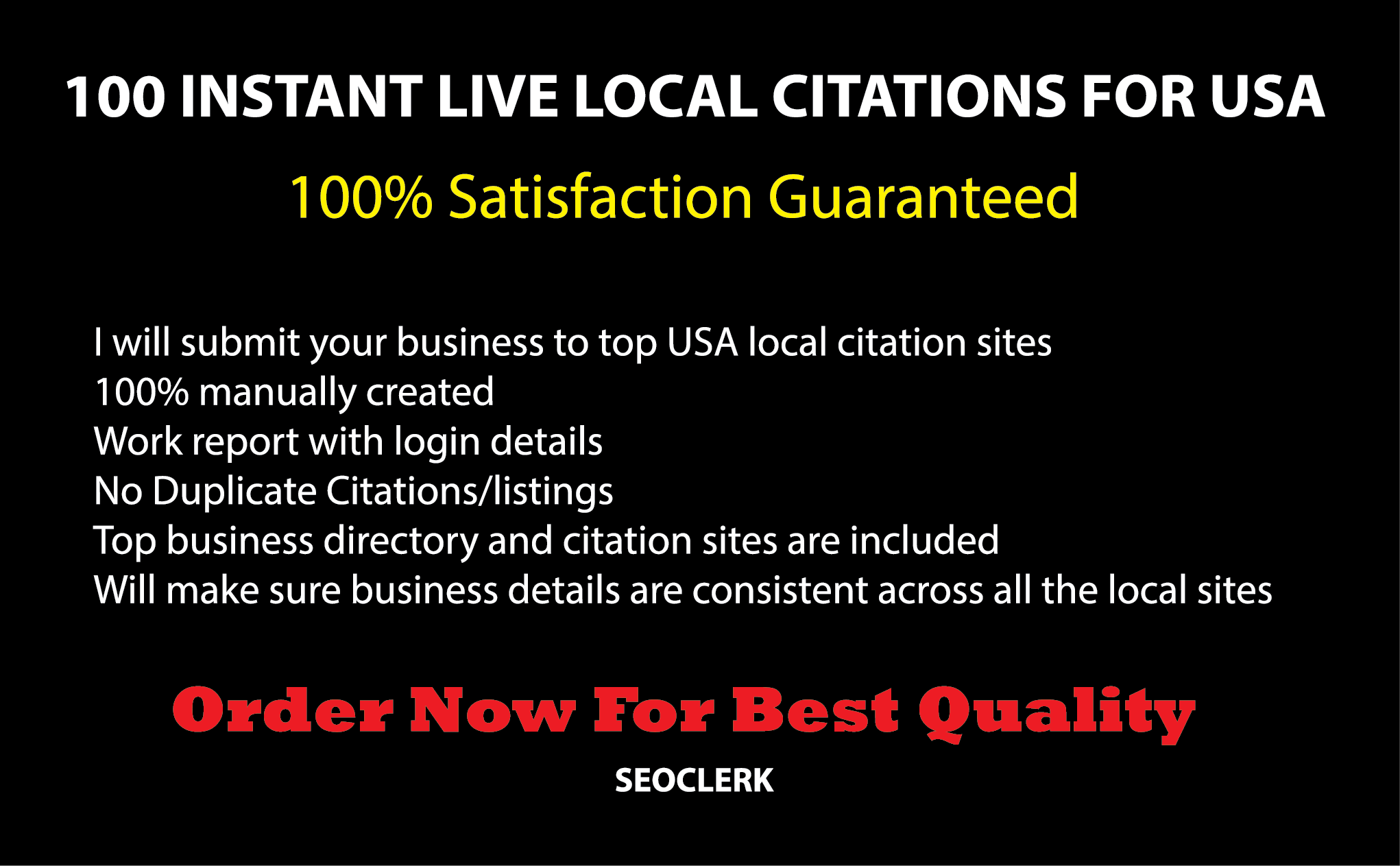 Manually do 100 High DA Instant Approval Local Listing or Local citations For USA
