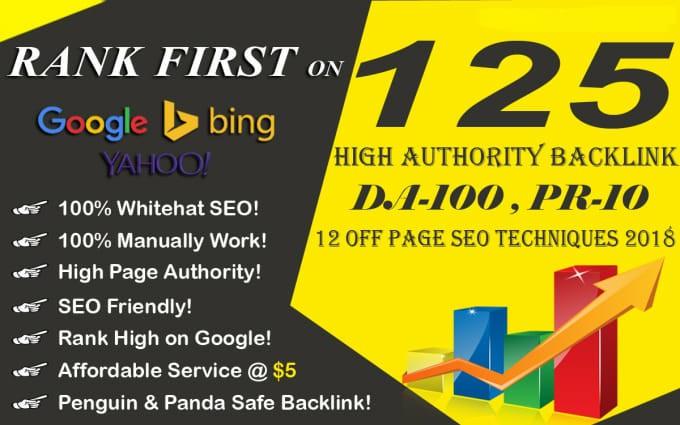 Create 125 high da backlinks panda and penguin safe