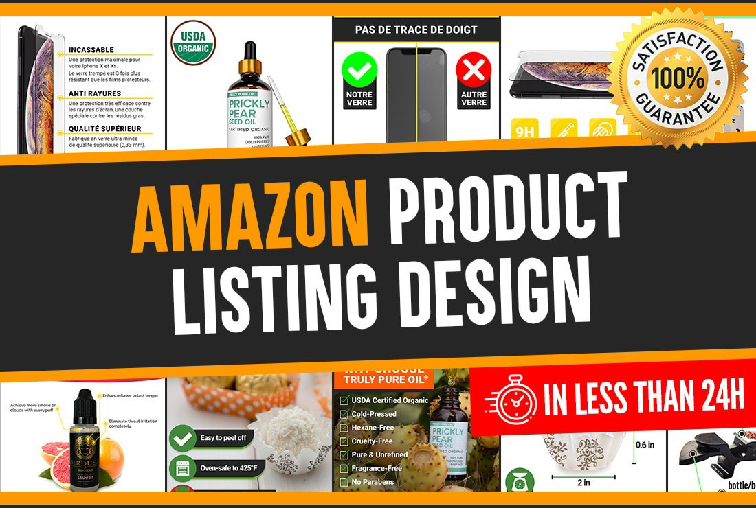 I will design amazon product listing images,  background removal