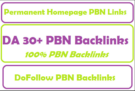 Do permanent 10 homepage da 30 pbn backlinks