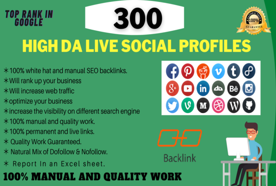 25 High DA Live Social Profiles For Your Business