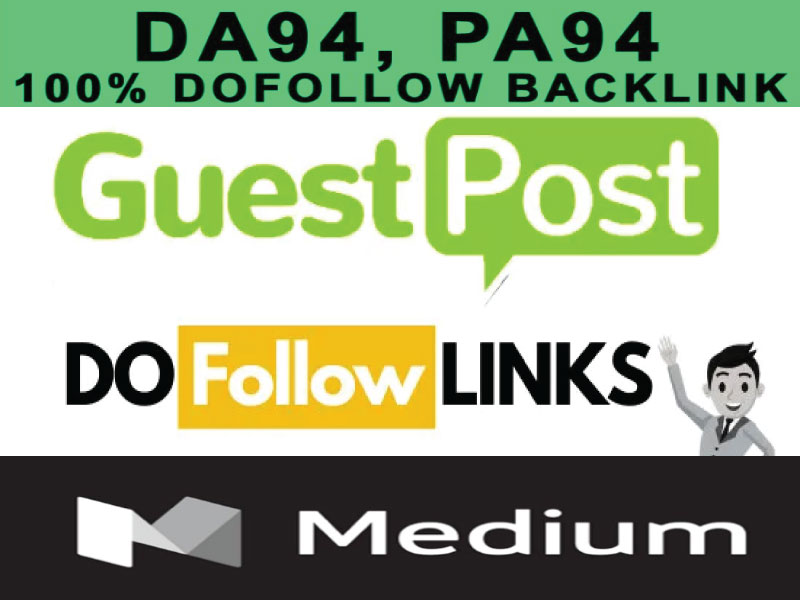 Write and publish guest post on on medium with permanent Dof0llow backlink DA95 PA80