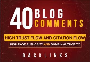 I Do 40 High DA,  PA Quality Blog Comments Live Links.