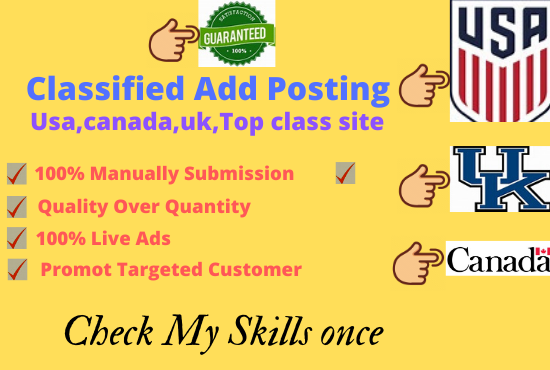 I will do classified ads posting usa, canada,  uk, top sites
