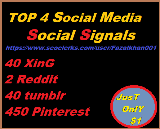 Get You 40 Xing + 40 Tumblr + 450 Pinterest + 2 Reddit Promotion profit to Boost UP SEO Site Signals