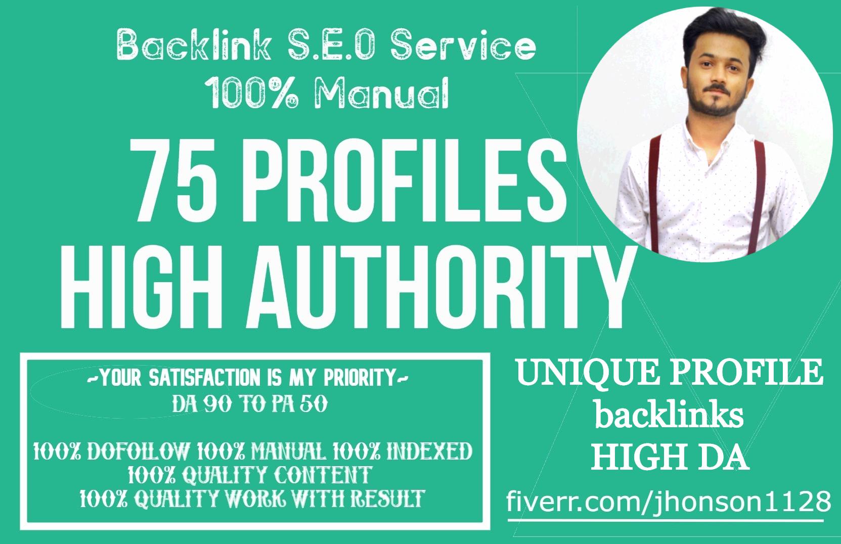 I will do high authority 75 profile backlinks da100 and tf50