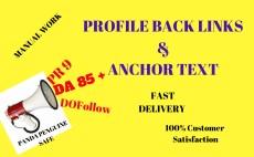 I will do manually profile backlinks 80 PR 9 da 90 plus