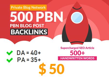 Extreme powerful DA 40+ PA 35+ pr 5+ web 2.0 500 PBN UNIQUE 500 sites