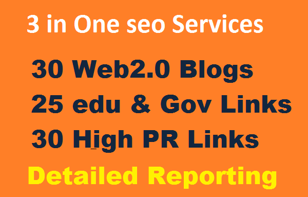 Provide 3 in One seo services 30 Web2.0 Blogs,  25 edu & Gov backlinks,  30 High PR Backlinks
