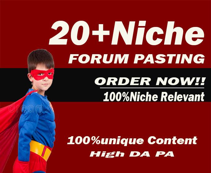 Create unique 20 HIGH Quality Niche Relevant forum posting links