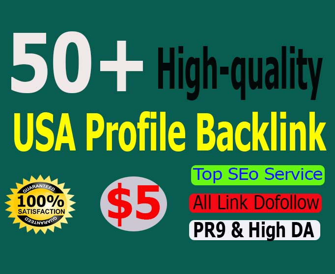 manually create 50 USA High DA PA Profile Backlinks for your website.