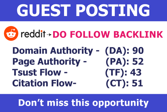 Guest blog on REDDIT with permanent Dofollow backlink DA 90