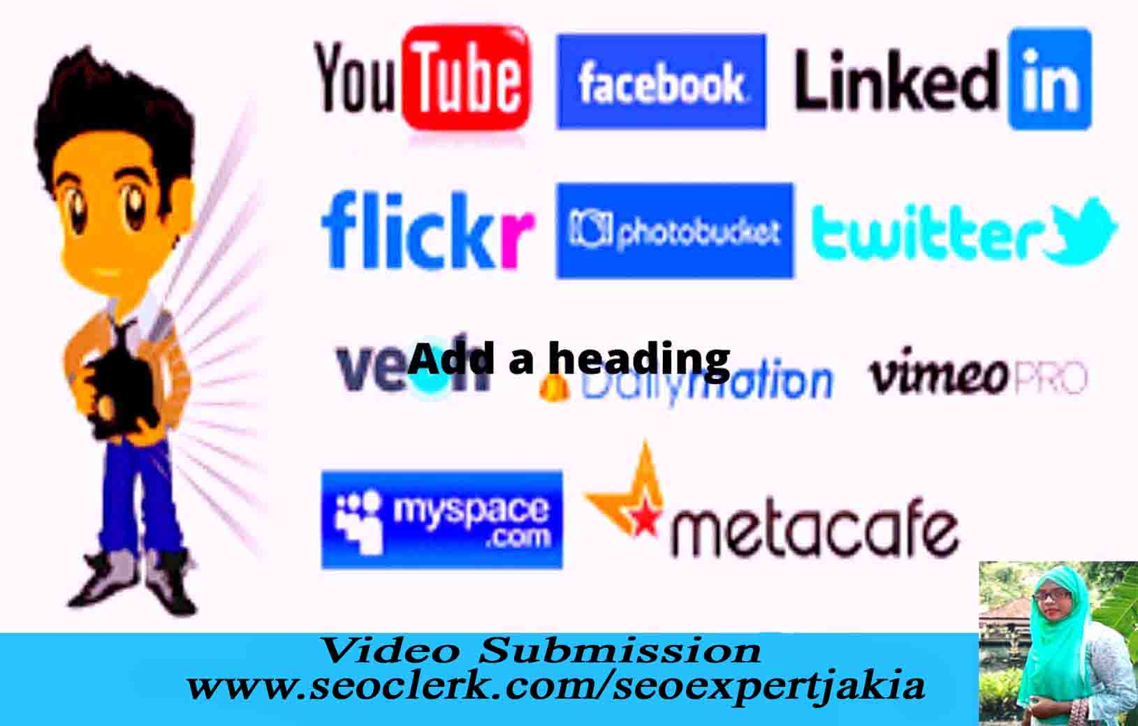 I will upload your video with 20 high quality video sharing site