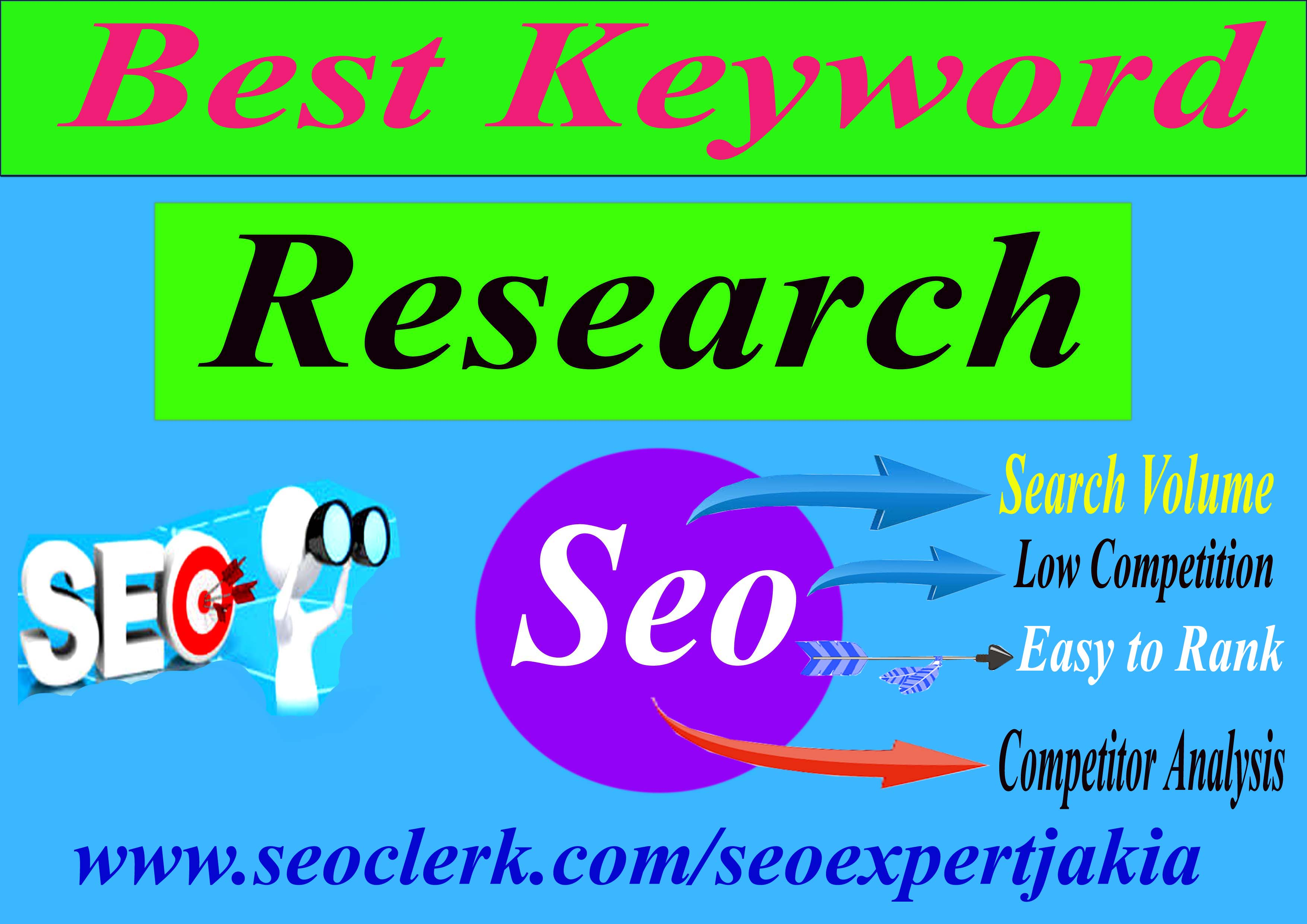 I will Provide best 3 Keyword research for onpage seo optimization