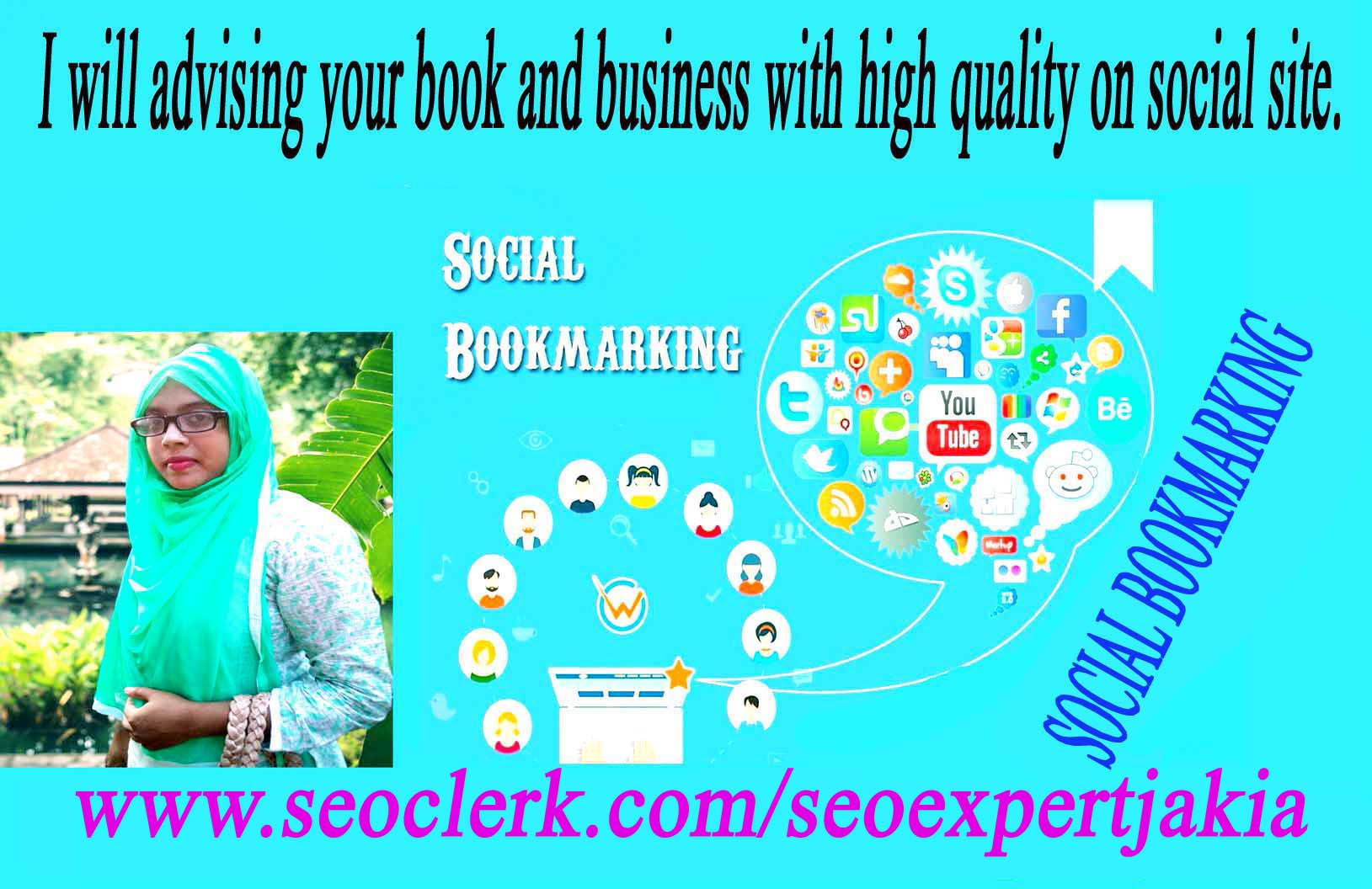 I will advising your book and business 20 with high quality on social site