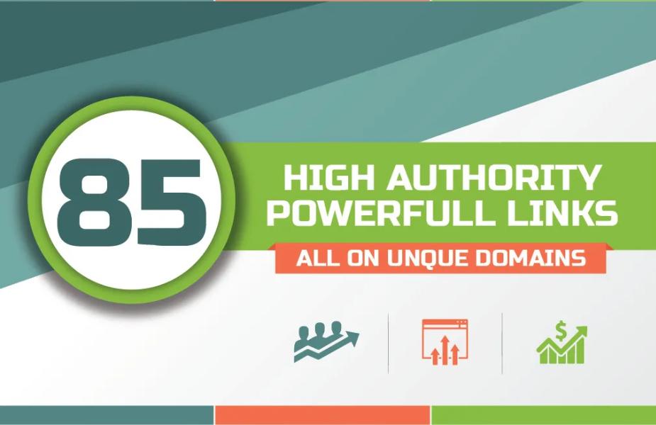 Add 85 unique domain SEO backlinks on tf100 da100 sites