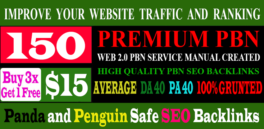 150 Premium Website Home Page WEB 2.0 PBNs Post DA 40+ PA 40+