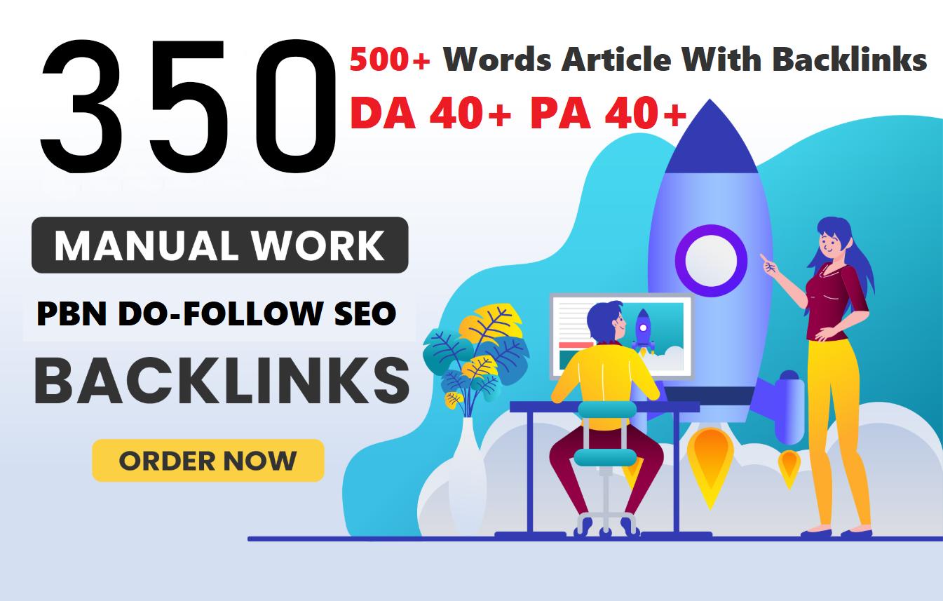 Unique 350 Sites DA 40+ PA 35+ PR 5+ Web 2.0 350 PBN