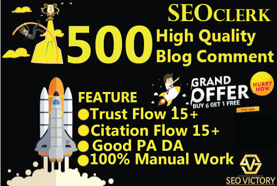 I will do 500 blog comment Do-Follow High DA PA low obl backlinks