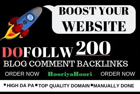 I will do 200 blog comment Do-Follow High DA PA low obl backlinks
