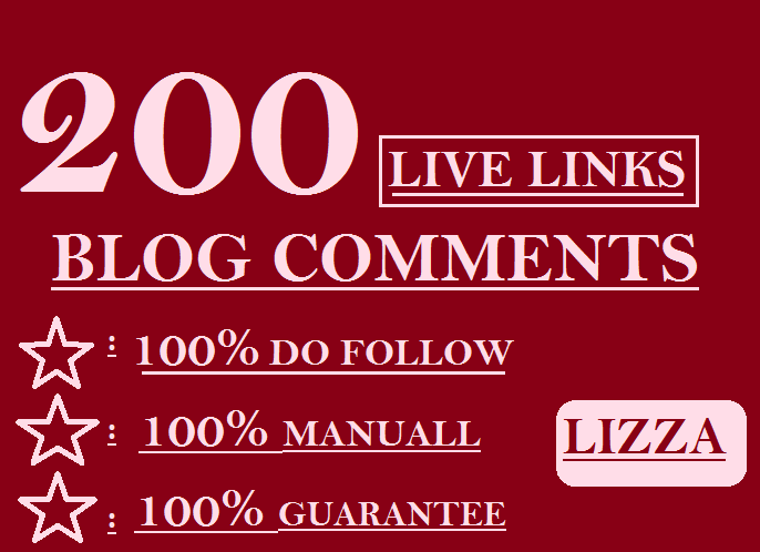 Provide 200 LIVE LINKS manuall blog comments