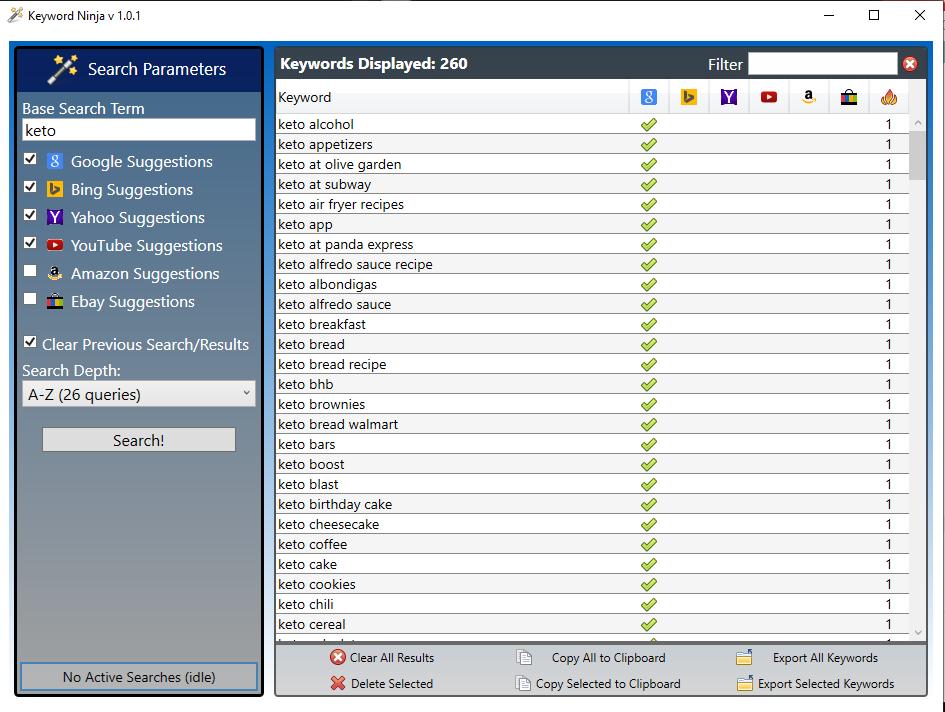 Keyword Ninja Software high searched keywords Covid-19 Sale!