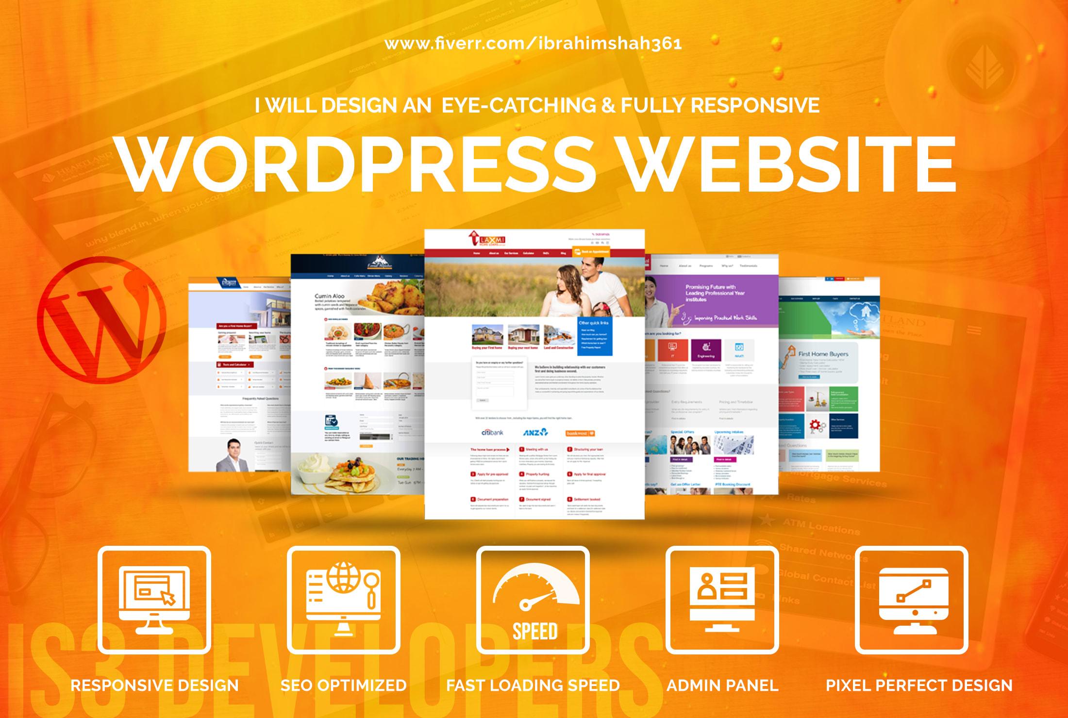 I will create responsive business,  portfolio,  blog wordpress website