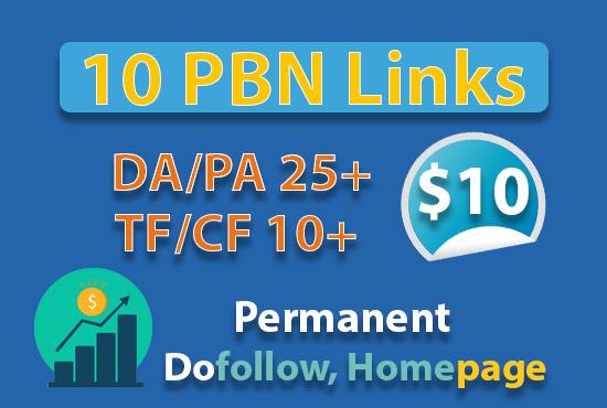 10 PBN Backlinks from DA/PA 25+,  TF/CF 10+