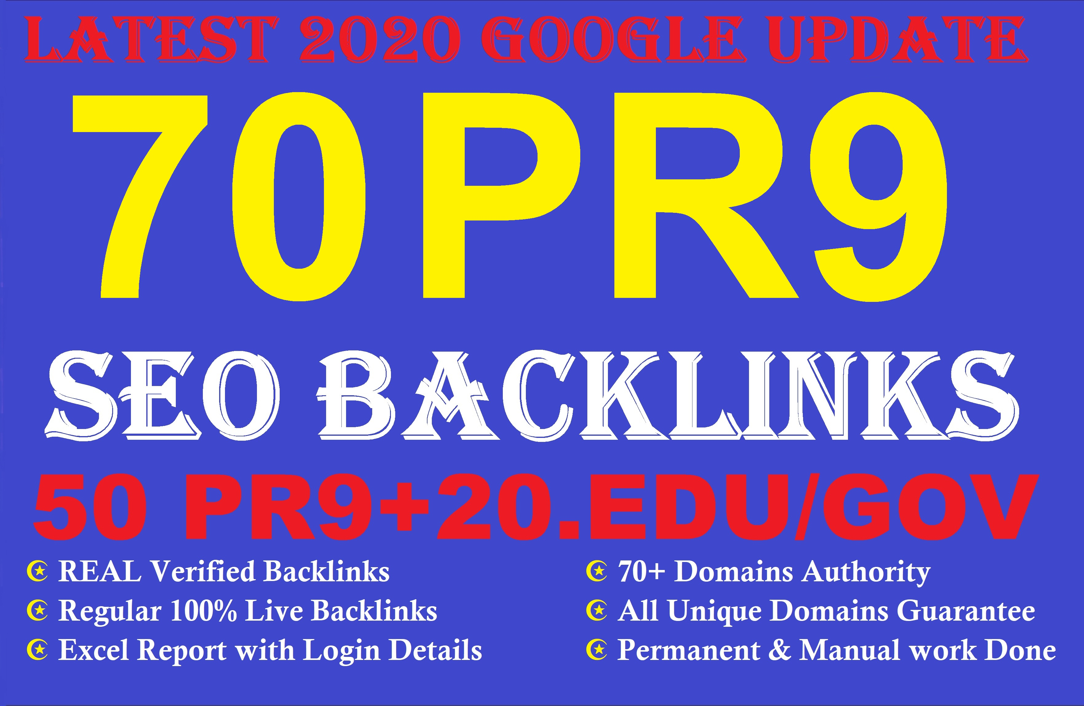 70 PR9 Backlinks 50 PR9+20 EDU/GOV Safe SEO High DA Backlinks Latest 2020 UPDATE