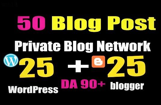50 PBNs post WordPress & Blogger High 90 DA PA aged Blog Properties