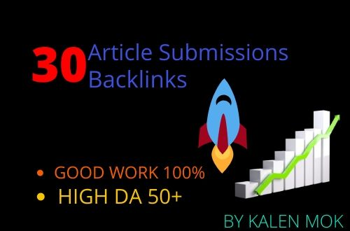 i will provide 30 interesting Article Submission with da50