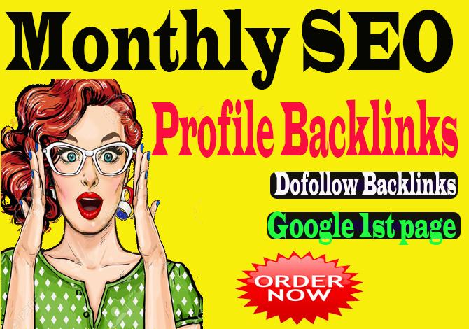 create monthly SEO 2000 Backlinks service,  dofollow link building SEO profile backlinks