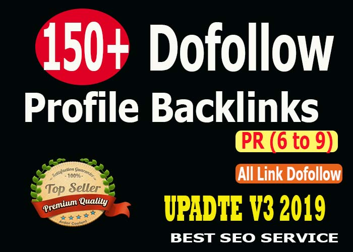 Manually Create 150+ High PR9 Dofollow Profile Backlink For your site