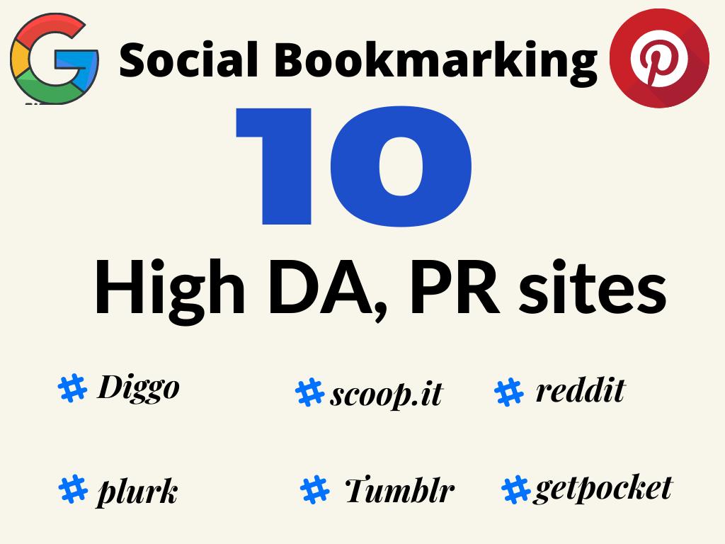 10 HIgh DA PR Diggo,  Reddit, plurk many more HIgh quality backlinks for Google Ranking