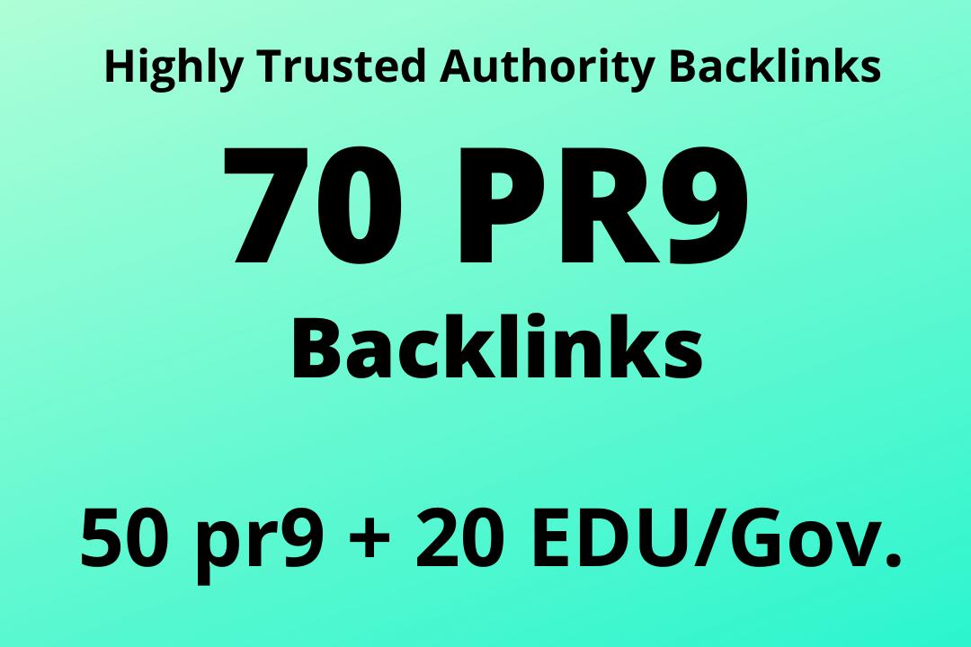 Provide you 50 PR up to 9 + 20 EDU/Gov. High Authority Backlinks