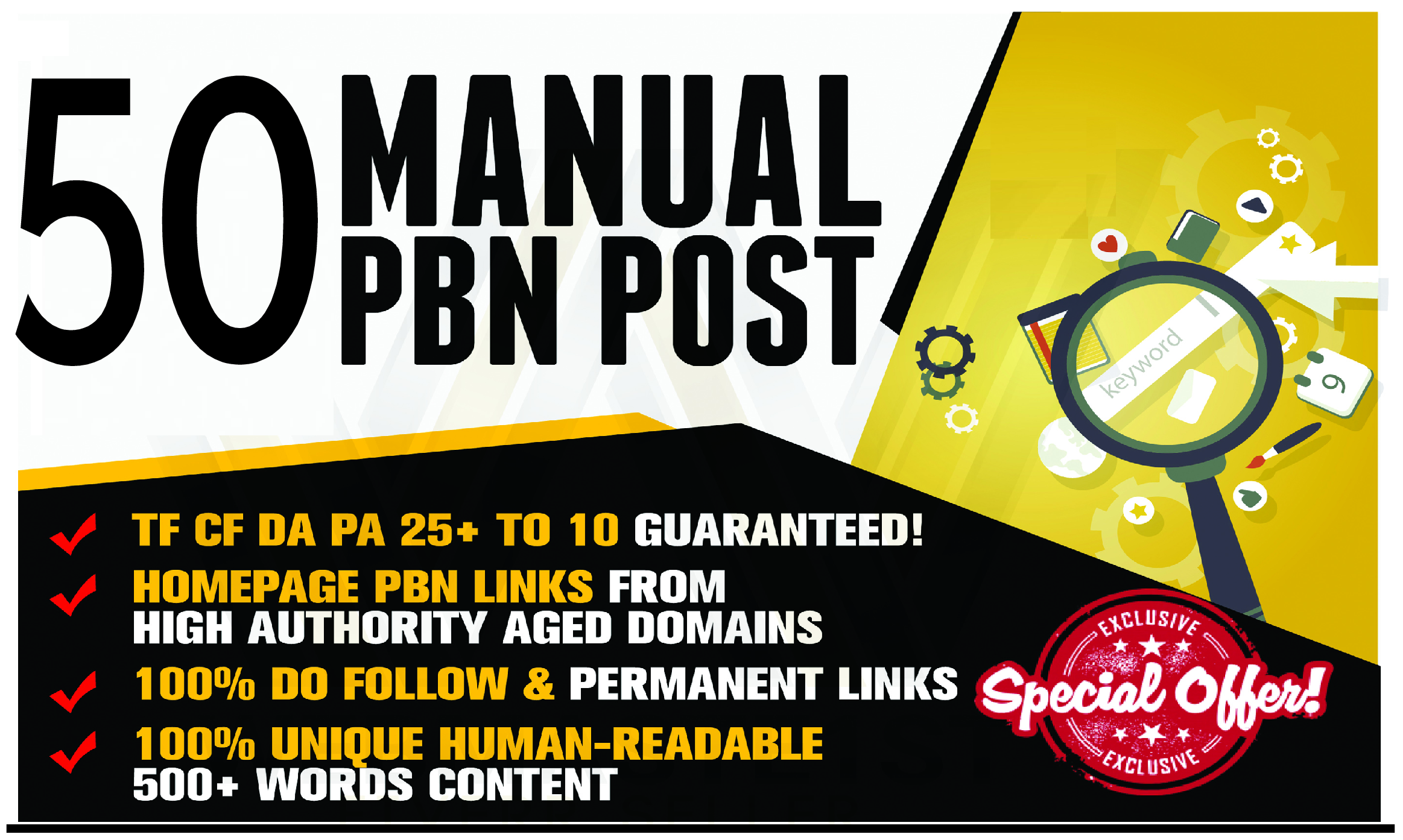 50 Permanant Manual High DA 30 - 40 Homepage Dofollow PBN Backlinks