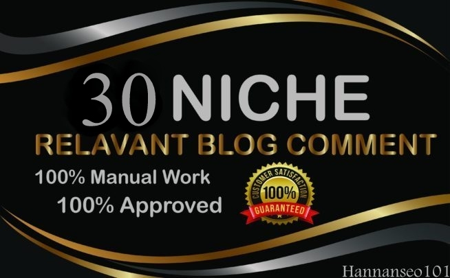 I will providing 30 Niche Related Blog Comments service 100 manually