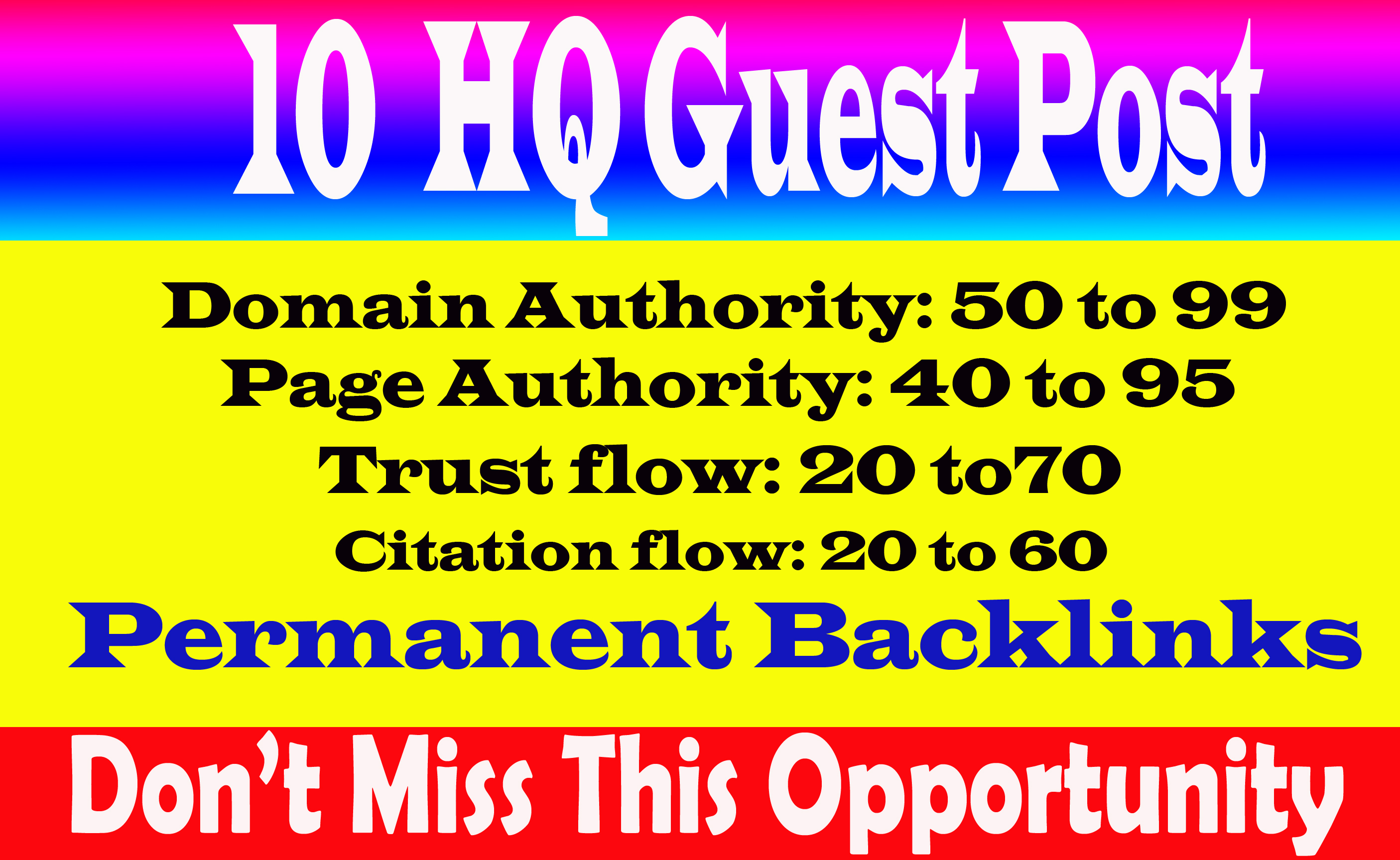 Write & Publish 10 Guest Post On High Traffic And High DA 70+ Sites with permanent strong backlink