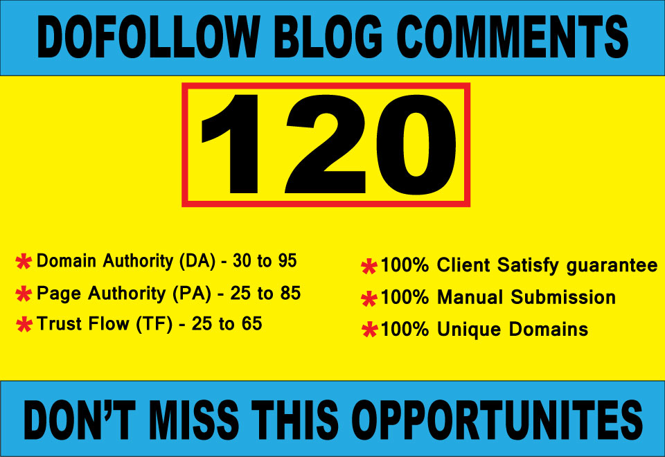 I will create 120 high quality Dofollow blog comments