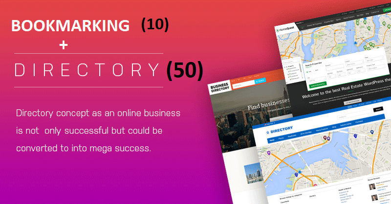 50 directory submission + 10 BOOKMARKING (manually done) with in 24 hours for your website