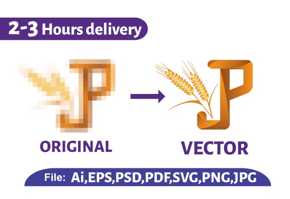 I will vector tracing,  redraw logo to ai, eps, svg, png, pdf